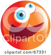 Royalty Free RF Clipart Illustration Of A Zany Orange Emoticon Face Version 3