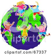 Royalty Free RF Clipart Illustration Of Happy International Kids Dancing On The Globe