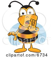 Clipart Picture Of A Bee Mascot Cartoon Character Whispering And Gossiping by Toons4Biz