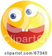 Royalty Free RF Clipart Illustration Of An Ecstatic Yellow Emoticon Face Version 3