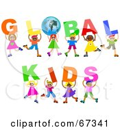 Children Carrying GLOBAL KIDS Text