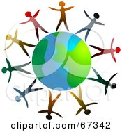 Royalty Free RF Clipart Illustration Of Colorful People Standing Around The Globe