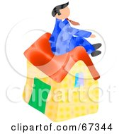 Royalty Free RF Clipart Illustration Of A Male Realtor Sitting Atop A Home