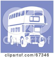 Royalty Free RF Clipart Illustration Of A White Double Decker Bus On Purple