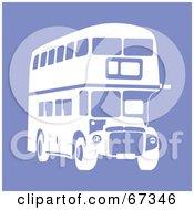 White Double Decker Bus On Purple
