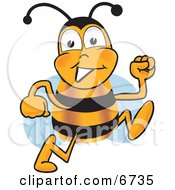 Clipart Picture Of A Bee Mascot Cartoon Character Running