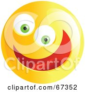 Royalty-Free (RF) Clipart Illustration of an Ecstatic Yellow Emoticon Face - Version 2 by Prawny