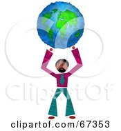Powerful Businessman Holding Up A Globe