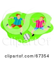 Royalty Free RF Clipart Illustration Of Two Soccer Players Running Over Green