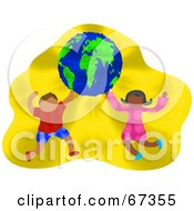 Royalty Free RF Clipart Illustration Of Happy Children Dancing And Holding The Globe