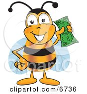 Bee Mascot Cartoon Character Holding A Dollar Bill