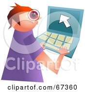 Royalty Free RF Clipart Illustration Of A Little Computer Geek Boy Using A Laptop