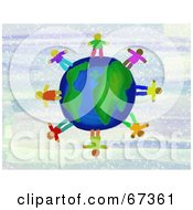 Royalty Free RF Clipart Illustration Of Global Kids Standing On A World Globe