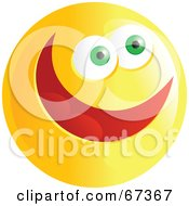 Royalty Free RF Clipart Illustration Of An Ecstatic Yellow Emoticon Face Version 4