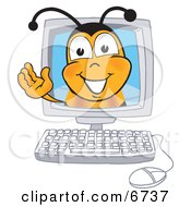 Bee Mascot Cartoon Character In A Computer Monitor Waving