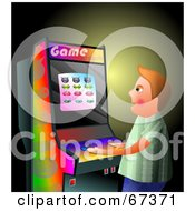 Royalty Free RF Clipart Illustration Of A Boy Playing An Arcade Game