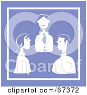 Royalty Free RF Clipart Illustration Of A White Business Meeting On Purple by Prawny