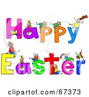Children With HAPPY EASTER Text
