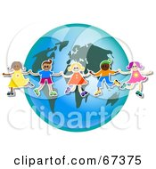 Royalty Free RF Clipart Illustration Of Children Holding Hands In Front Of A World Globe