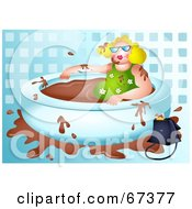 Royalty Free RF Clipart Illustration Of A Blond Lady Soaking In A Chocolate Bath