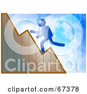 Royalty Free RF Clipart Illustration Of A Blue Man Running Up A Graph On A Blue Background by Prawny