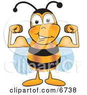 Clipart Picture Of A Bee Mascot Cartoon Character Flexing His Arm Muscles