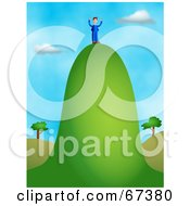 Royalty Free RF Clipart Illustration Of A Businessman Standing On A Tall Hill by Prawny