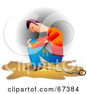 Royalty Free RF Clipart Illustration Of A Chained Messy Man Pouting by Prawny