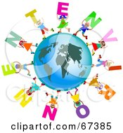 Royalty Free RF Clipart Illustration Of Global Kids Carrying ENVIRONMENT Text Around A Globe