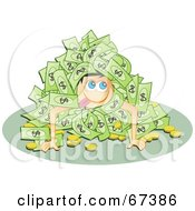 Royalty Free RF Clipart Illustration Of A Goofy Man In A Pile Of Cash And Coins by Prawny