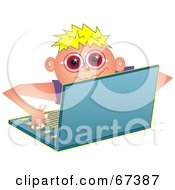 Royalty Free RF Clipart Illustration Of A Little Boy Computer Geek Using A Laptop