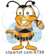 Clipart Picture Of A Bee Mascot Cartoon Character Peeking Through A Magnifying Glass