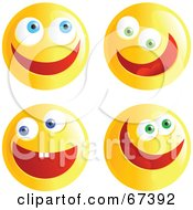 Royalty Free RF Clipart Illustration Of A Digital Collage Of Ecstatic Yellow Emoticon Faces
