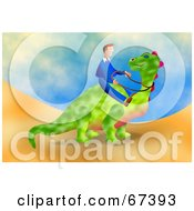 Royalty Free RF Clipart Illustration Of A Businessman Riding A Green Dinosaur On A Hill by Prawny