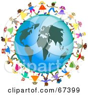 Royalty Free RF Clipart Illustration Of Global Kids Dancing Around An Africa Globe
