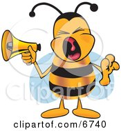 Bee Mascot Cartoon Character Screaming Into A Megaphone