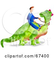Businessman Riding A Green Dinosaur Over White