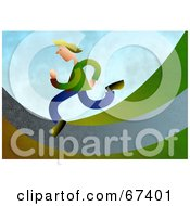 Royalty Free RF Clipart Illustration Of A Hurried Man Running On A Path by Prawny