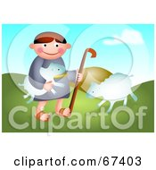 Royalty Free RF Clipart Illustration Of David Playing With His Sheep
