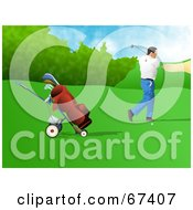Royalty Free RF Clipart Illustration Of A Male Golfer Swinging by Prawny