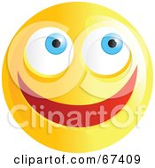 Royalty Free RF Clipart Illustration Of An Ecstatic Yellow Emoticon Face Version 1