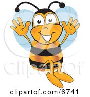 Clipart Picture Of A Bee Mascot Cartoon Character Jumping With His Arms Up
