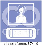 Royalty Free RF Clipart Illustration Of A White Ticket Stub And Woman On Purple by Prawny