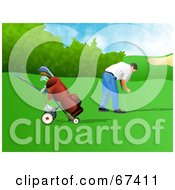 Royalty Free RF Clipart Illustration Of A Male Golfer Setting Up His Bal by Prawny
