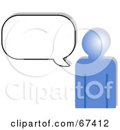 Royalty Free RF Clipart Illustration Of A Blue Person Outline With A Blank Chat Box
