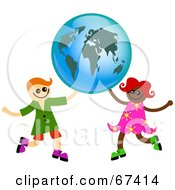 Royalty Free RF Clipart Illustration Of Boy And Girl Holding Up A Globe