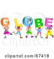 Children Carrying GLOBE Text