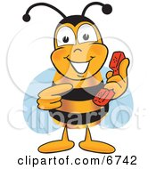 Bee Mascot Cartoon Character Holding And Pointing To A Telephone