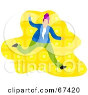 Royalty Free RF Clipart Illustration Of A Running Man Over Yellow by Prawny
