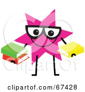 Pink Star Guy Holding Books